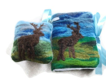 Sewing Needle Book/Case -Stag. With FREE matching Pin Cushion, Sewing Accessories, Needle Felted, Needle Organiser.