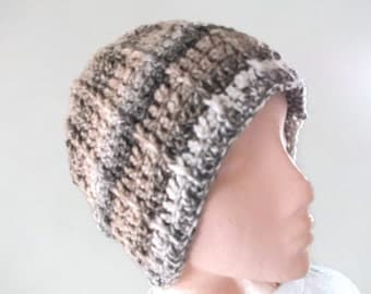 Chunky Crochet Beanie Hat in Browns & Beige for Men and Women. Original Design, Fashion Accessories, Winter Warmers.