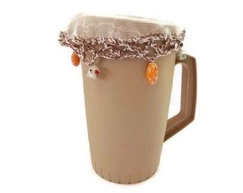 Summer Outdoor Dining. Beaded Jug Cover. Brown and White Crocheted Cotton. Outdoors, Alfresco, Picnics.BBQ, Home Accessories.