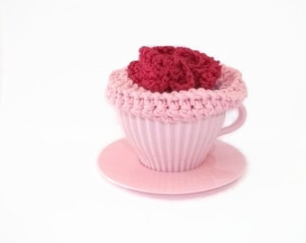 Cupcake Cotton Soap Saver Set. Shower/Bath Gift Set, Bathroom Accessories. Hostess Gift, New Mum Gift, Baby Shower,