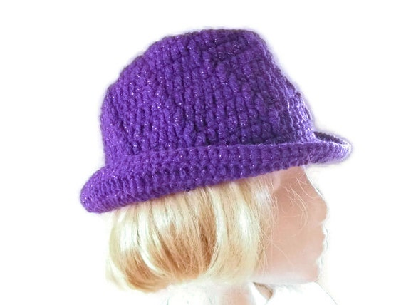 Trilby Style Hat Crocheted in Purple Shimmer. Accessories, Fedora, Ladies,