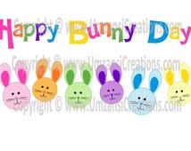 "DIY Printable ""Happy Bunny Day"" Iron On Transfer (PNG Digital Image)"