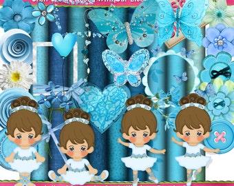 Lil Ballerina Blue Scrap Kit Clipart (Digital Download ZIP File)