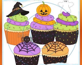 Happy Halloween Cupcakes Clipart (Digital Download)
