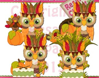 Indian Owls Clipart (Digital Download)