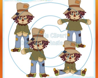 Fall Scarecrow Boys 1 Clipart (Digital Download)
