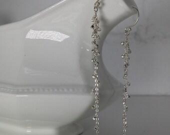 Long Modern Sterling Silver Earrings