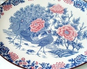 SALE 25%OFF Japanese Dinnerware Platter, Peacock Floral Charger, Oval Tureen, Turkey Tray, Faience, Asian Crockery Gifts for home