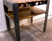 SandDrift Walnut Nightstand Endtable with Brushed Steel Legs