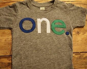 Boys birthday shirt grey blue green custom birthday tee organic blend tee uno one two