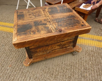 Reclaimed Barnwood Large Storage Coffee Table Industrial casters