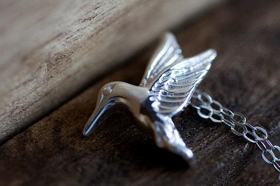 Sterling Silver Bird Necklace Hummingbird Pendant Nature Birdie Silver Necklace Bird Jewelry - N223