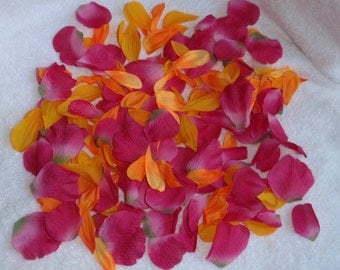 200 Silk Rose Petals BRIGHT PINK & ORANGE Wedding Flower Decorations Party Decorations Bridal
