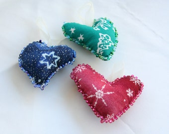 Trio of Batik Holiday Ornaments - Hearts Christmas Red Holiday Green Snowflake Blue