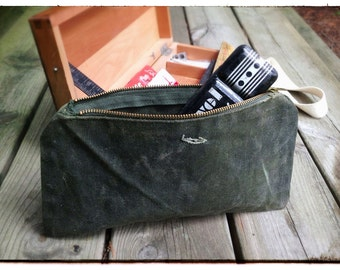 Waxed Canvas Pencil Bag