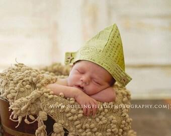 "Little Vintage Inspired Fabric ""Newspaper"" Sailor Hat, Newborn Sailor Hat, Newborn Photography Prop, Newspaper Hat, Baby Sailor Hat, Infant"