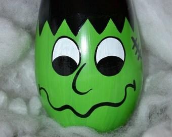 Hand Painted Frankenstein Wine Glass