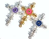 SALE  Evil Eye Rhinestone Sideways Cross Connector Evil Eye All Seeing Eye Cross Connector Bracelet Making Cross