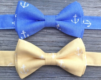Boy's Nautical Bow Tie -- Boys Anchor Bow Tie -- Yellow Bow Tie for Boys -- Nautical Wedding -- Blue Tie for Boys -- Pale Yellow Bow Tie