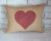 Heart Pillow - Burlap Pillow - STUFFED Decorative Pillow - Valentines Day Pillow - Other Colors Available - Love Pillow - Country Pillow