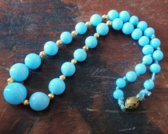Blue Art Deco Czech Glass Necklace