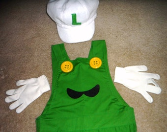 "by SuPeR  Mario bros. game  FIRE LUIGI costume  on Sz  4 to 10 years  ""custom by ORDER """