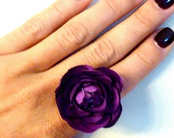 "Flirty Flower Ring ""Green Thumb""- Adjustable size- Four colors"
