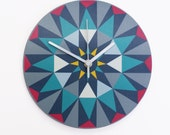 Kaleido - Clock Turquoise triangles