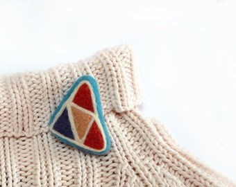 Felted brooch pin Triangles Needle felt brooch Ready to ship