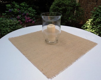 "Burlap Table Square 24"" x 24"" Burlap Table Overlays Rustic Table Setting"