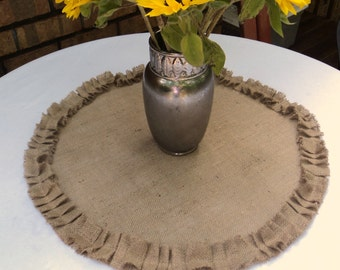 Round Burlap Table Centerpiece Burlap Table Topper with Ruffles Modern Farmhouse Decor Rustic Wedding Table Centerpiece