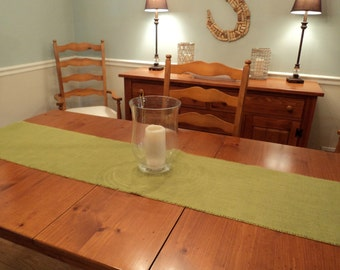 "Avocado Green Burlap Table Runner 14"" wide Many Lengths to Choose from or Custom Size Available"