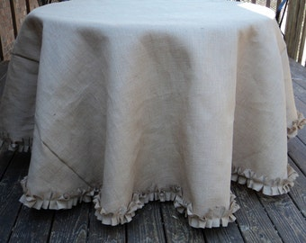 "Natural or Ivory 80"" or 85"" Diameter Round Burlap Tablecloth"