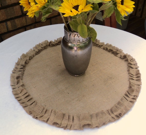 Round Burlap Table Topper With Ruffles Rustic By