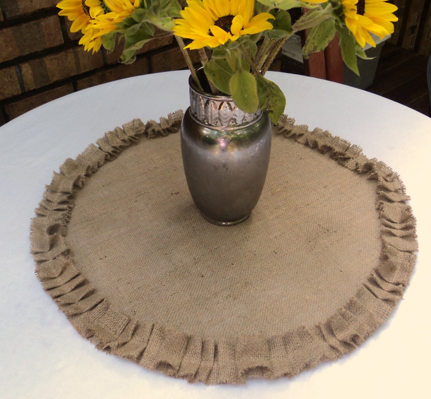 Round Burlap Table Centerpiece Burlap Table Topper With