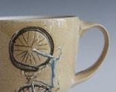 Blue Road Bike Mug with a Yellow Glaze