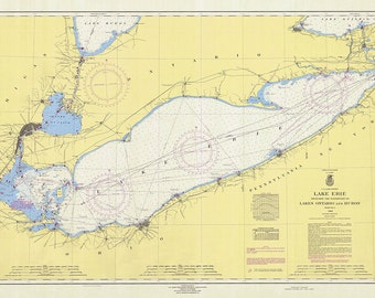 1964 Nautical Chart of Lake Erie