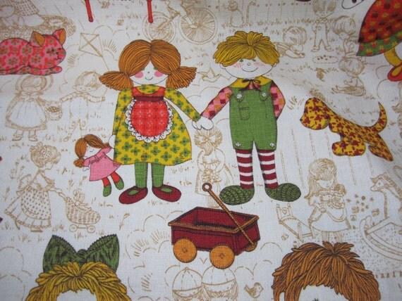 Items similar to barkcloth children 39 s vintage 5th avenue for Vintage childrens fabric prints