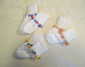 READY TO SHIP - 3 pairs of 12 to 18 Month Cuff Socks with Beaded Trim - White with Colored Beads