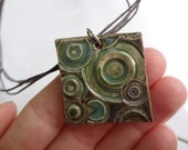 Ceramic Jewelry - Ceramic Pendant - Ceramic Necklace - Abstract Ceramic Jewelry - Circles - Polka Dots