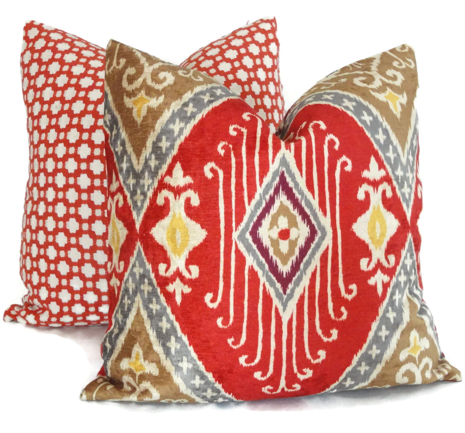 Red And Gold Decorative Pillow : Iman Red and Gold Velvet Ikat Decorative Pillow Cover Square