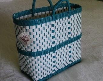 Hand Woven Plastic Basket/Tote Bag