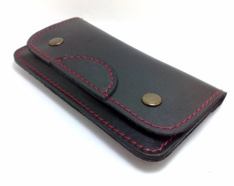 Wallet sleeve Handmade genuine leather iPhone 5  with lifeproof or Otter Box cell phone case with card holder initials belt loop