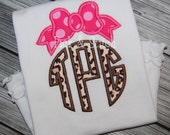 Bow Monogram Topper Applique Design Machine Embroidery INSTANT DOWNLOAD
