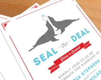 Wedding Invitation Digital File Seal the Deal, animals,  circus, clever wedding stationery, pdf, jpeg