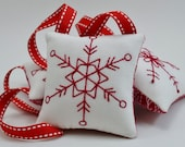 Snowflake Ornaments - Christmas Tree Decorations - Winter Decor - Door Knob Hangers - Hand Embroidery - Redwork - Geometric Shapes