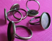 10X - antiqued bronze brass adjustable ring setting base blank for round 16mm cabochon