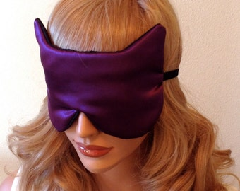 Silk Eye Mask Sleep Mask, Purple & Black Charmeuse Cat Shape, Fully Adjustable Straps, Light Blocking for Sleep and Anti-Aging