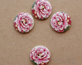 chinese 10pcs wood buttons with peony pattern