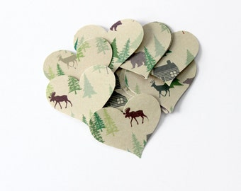 Woodland Cabin Heart Die Cuts - Nature Table Decor - Autumn Fall - Moose, Deer, Bear, Woodland Animals
